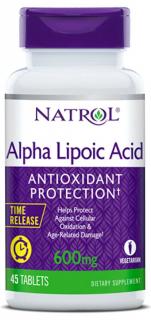 Альфа-липоевая кислота, 600 мг, 45 таблеток пролонгированного высвобождения, Natrol