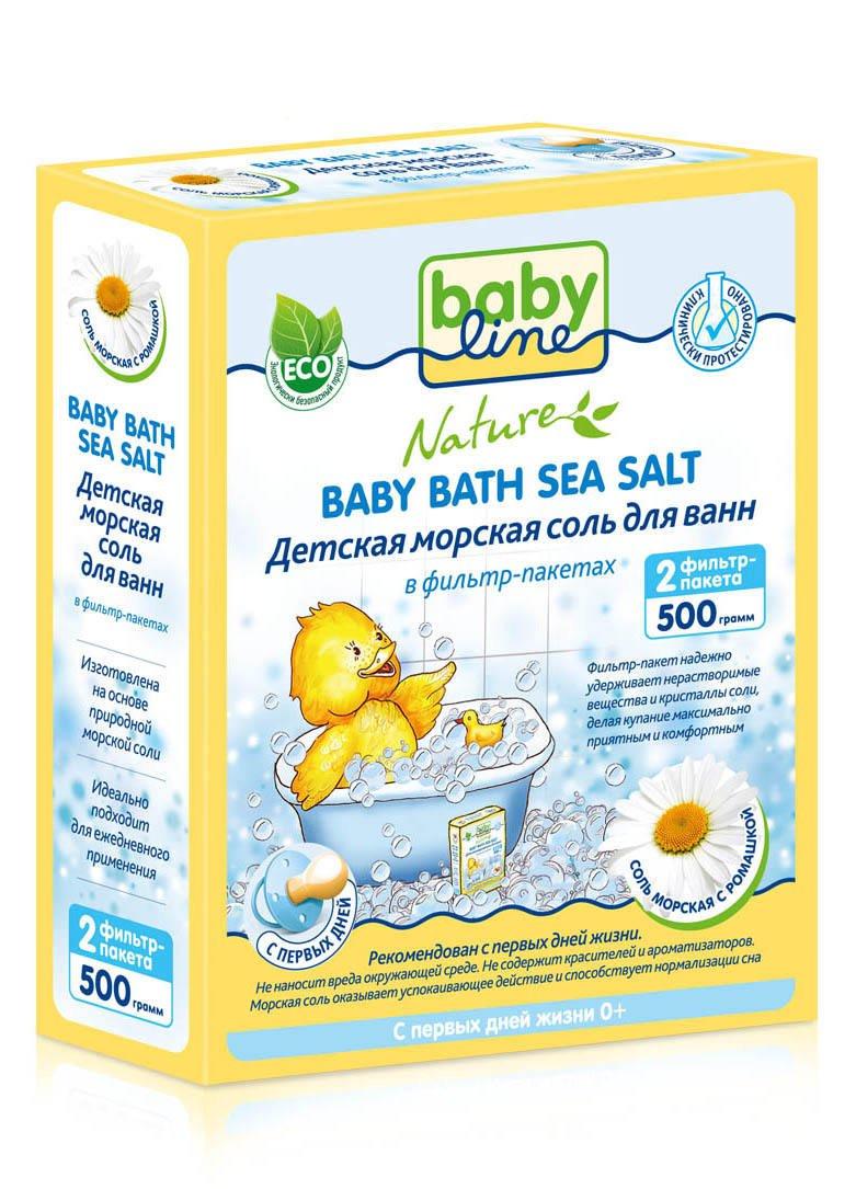 Соль морская для ванн с ромашкой, 2 фильтр-пакета, 500 гр, BABYLINE NATURE фото