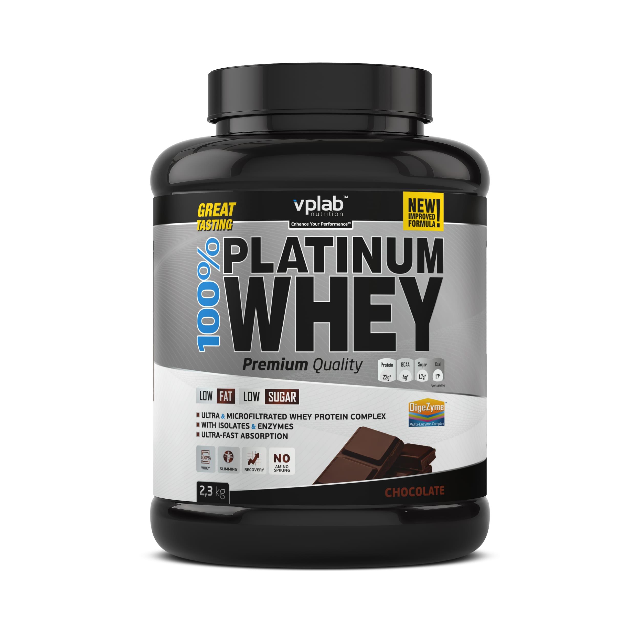 Сывороточный протеин 100% Platinum Whey, вкус «Шоколад», 2,3 кг, VPLab фото