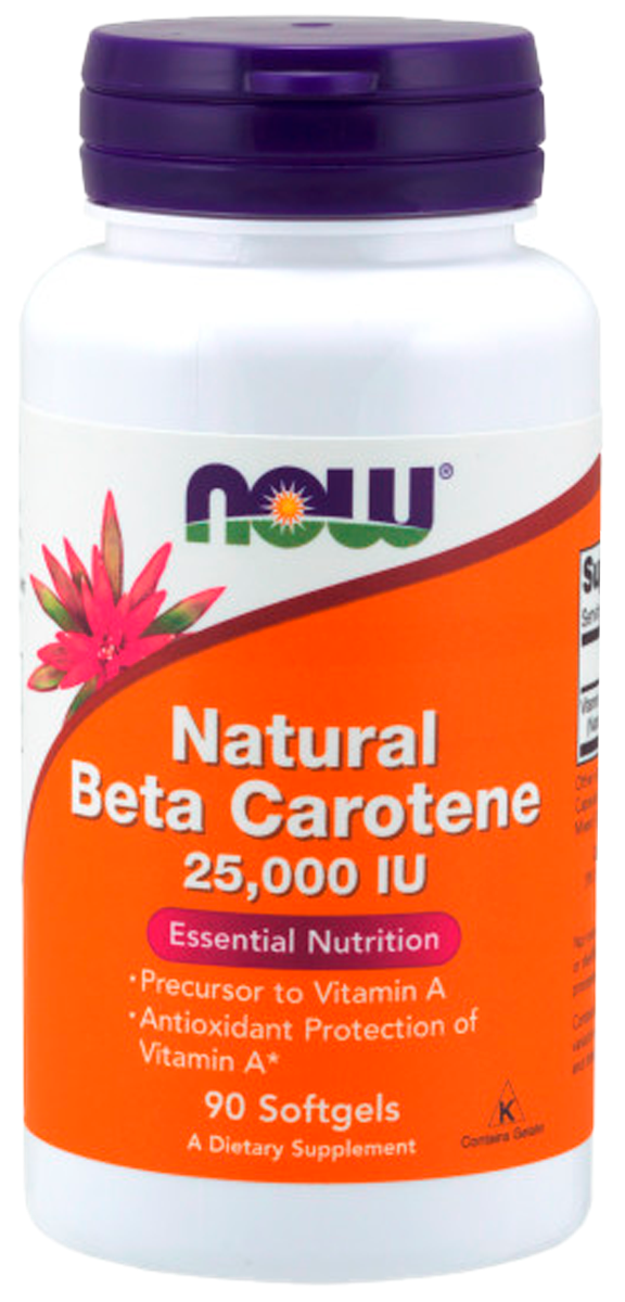 Бета-каротин, 90 капсул, NOW