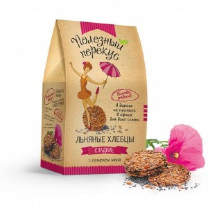 Хлебцы льняные с семенем мака, 100 гр, Полезный перекус фото
