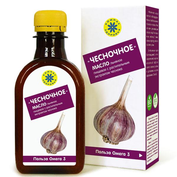 Чесночное - масло льняное с экстрактом чеснока, 200 мл, Компас Здоровья