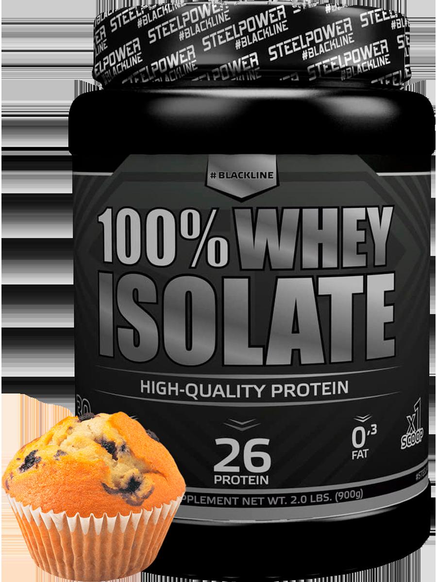 Протеин WHEY ISOLATE (100% изолят), 900 гр, вкус Черничный маффин, STEELPOWER