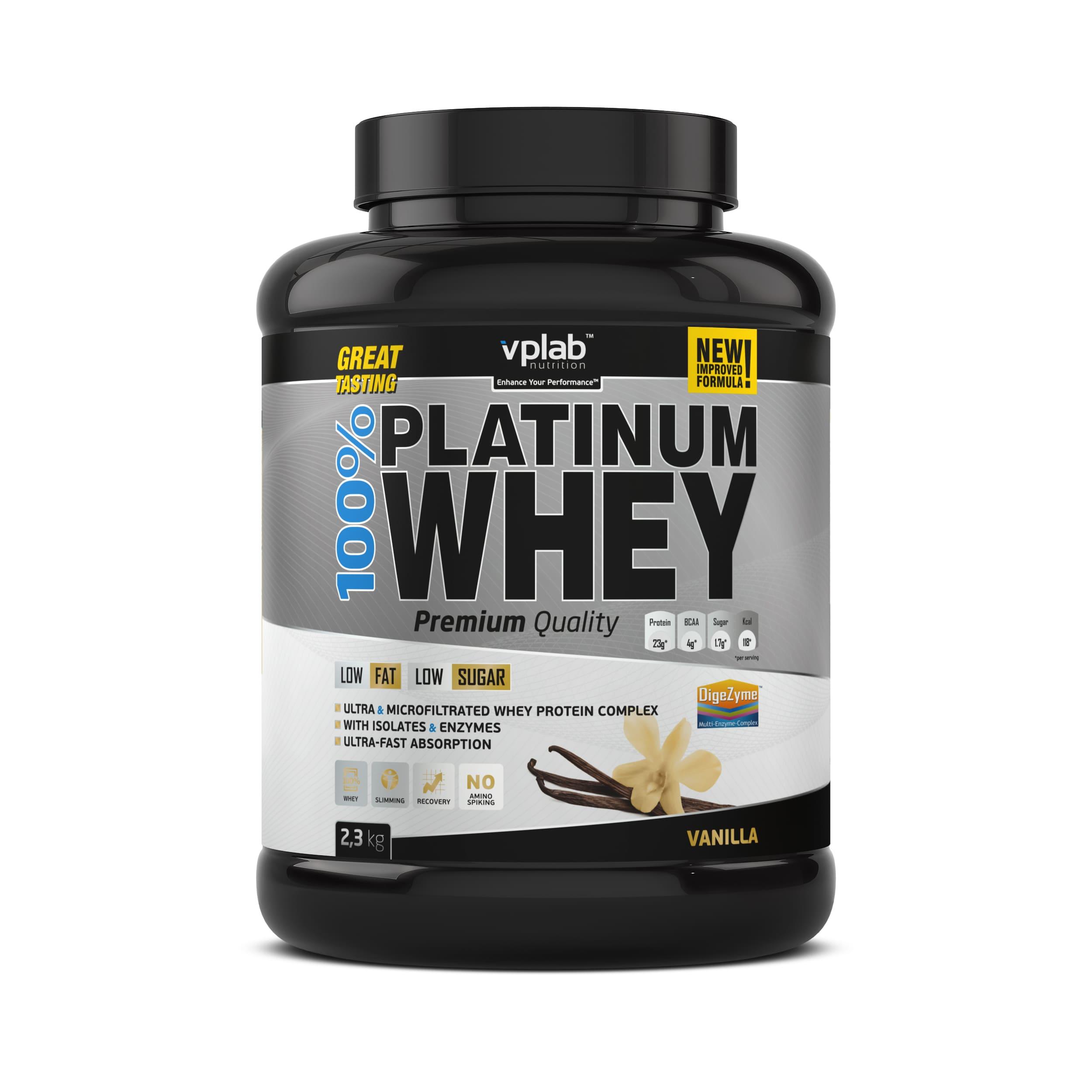 Сывороточный протеин 100% Platinum Whey, вкус «Ваниль», 2,3 кг, VPLab фото