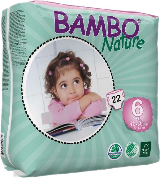 Подгузники для детей Nature XL-Plus 6, 16-30 кг, 22 шт, BAMBO фото
