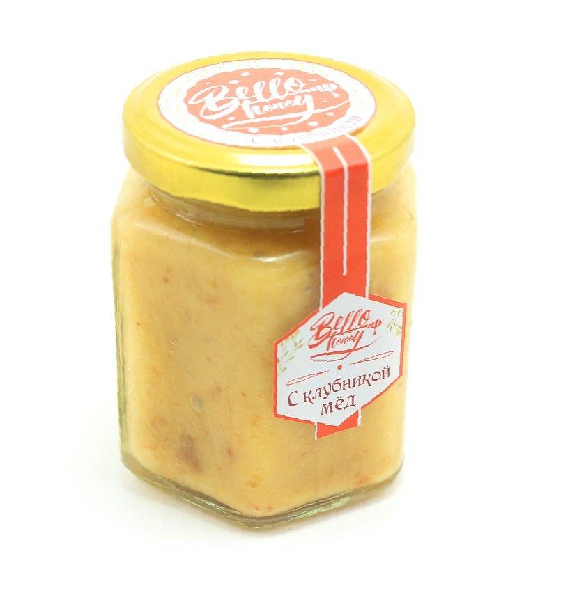 Крем-мёд с клубникой, 200 мл, BelloHoney фото