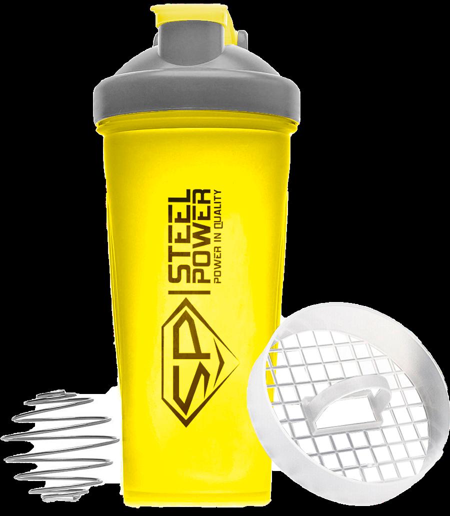 Шейкер (желтый) 600 мл, STEELPOWER фото