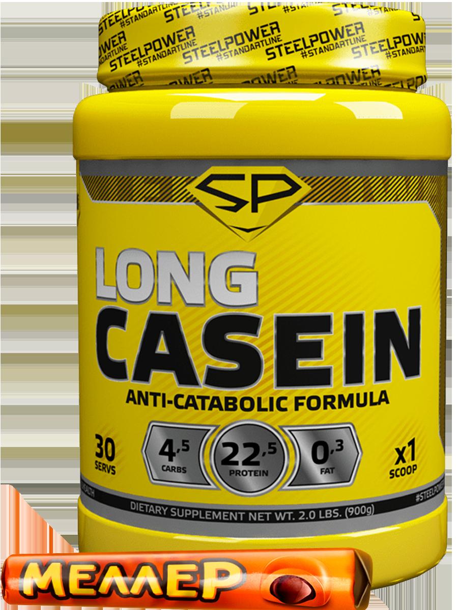 Казеин LONG CASEIN, 900 гр, вкус «Сливочная карамель», STEELPOWER фото
