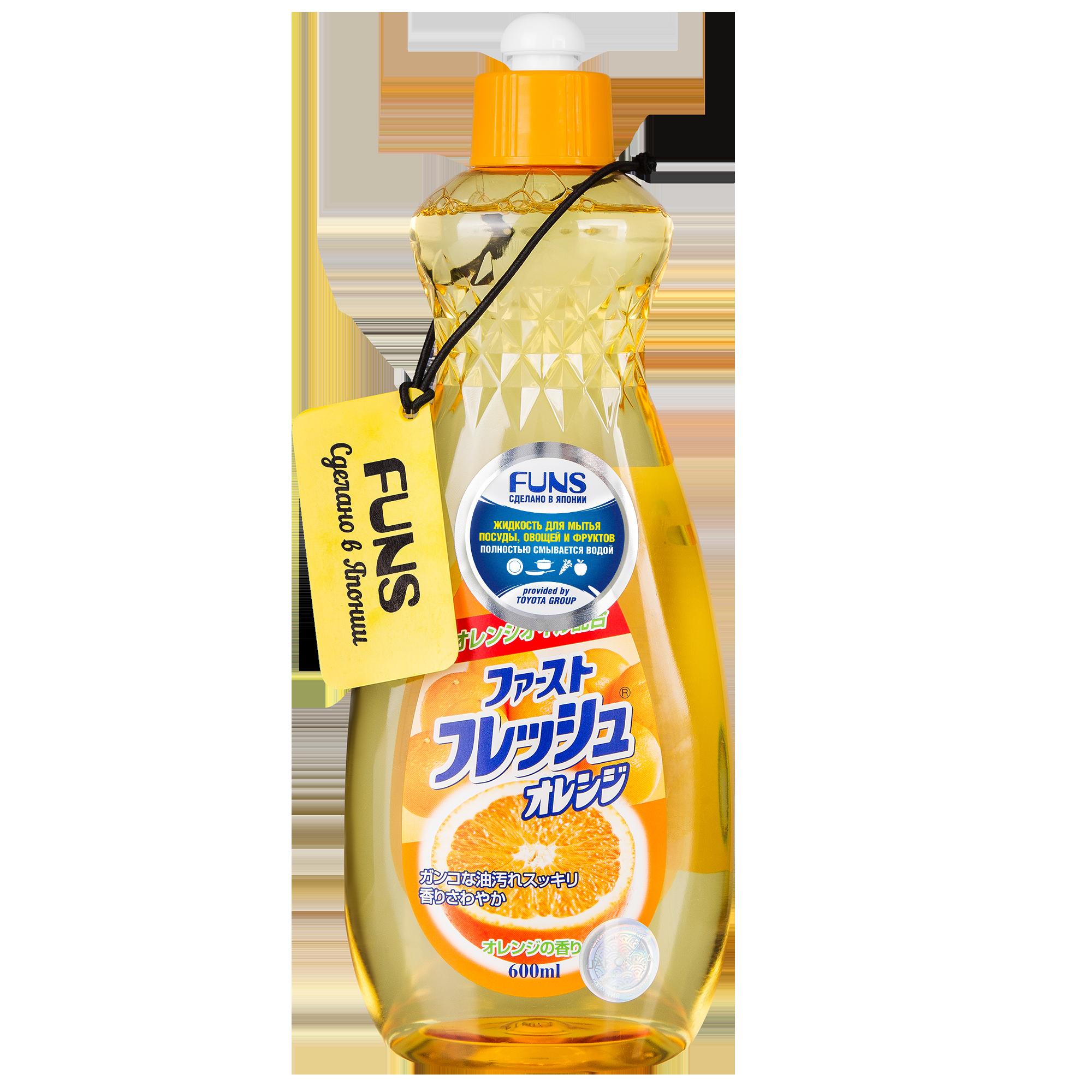 Жидкость для мытья посуды овощей и фруктов свежий апельсин, FUNS, 600 мл фото