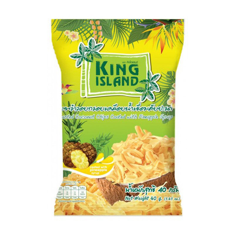 Кокосовые чипсы с ананасом, 40 гр, KING ISLAND фото