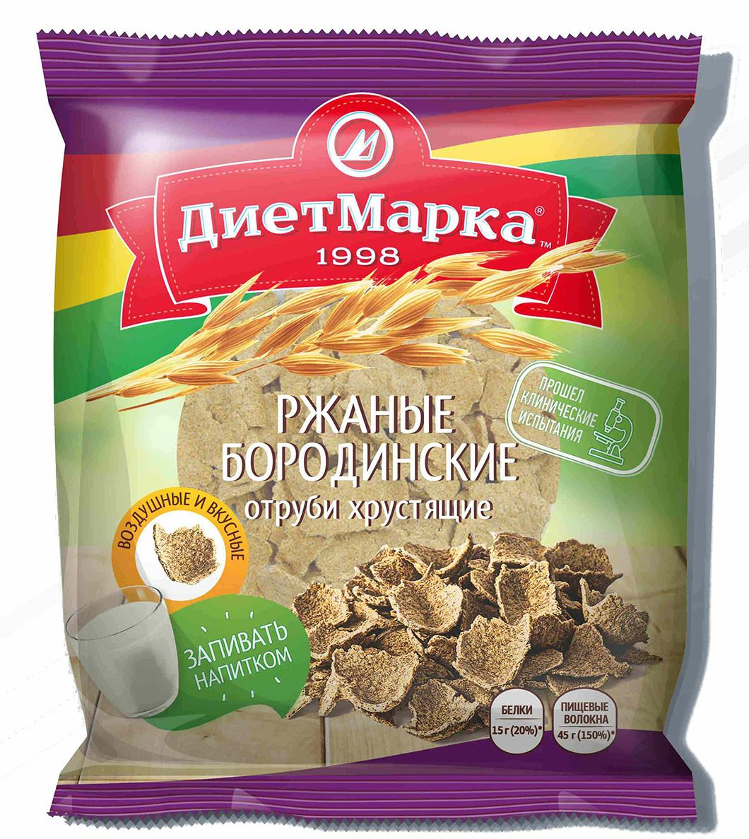 Отруби хрустящие ржаные  БОРОДИНСКИЕ (хлопья), 100 гр, ДиетМарка