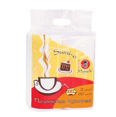 Купить со скидкой Полотенца кухонные бумажные Sumi-e, белые,  2 рулона, MANEKI