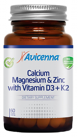 Ca+ Mg+Zinc+Vitamin D3+K2,  60 таблеток, Avicenna