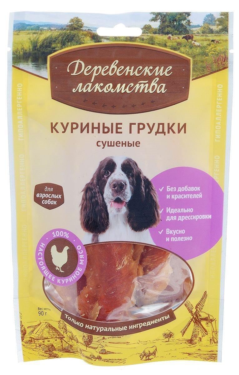 Куриные грудки сушеные для взрослых собак, 90 гр, Деревенские лакомства фото