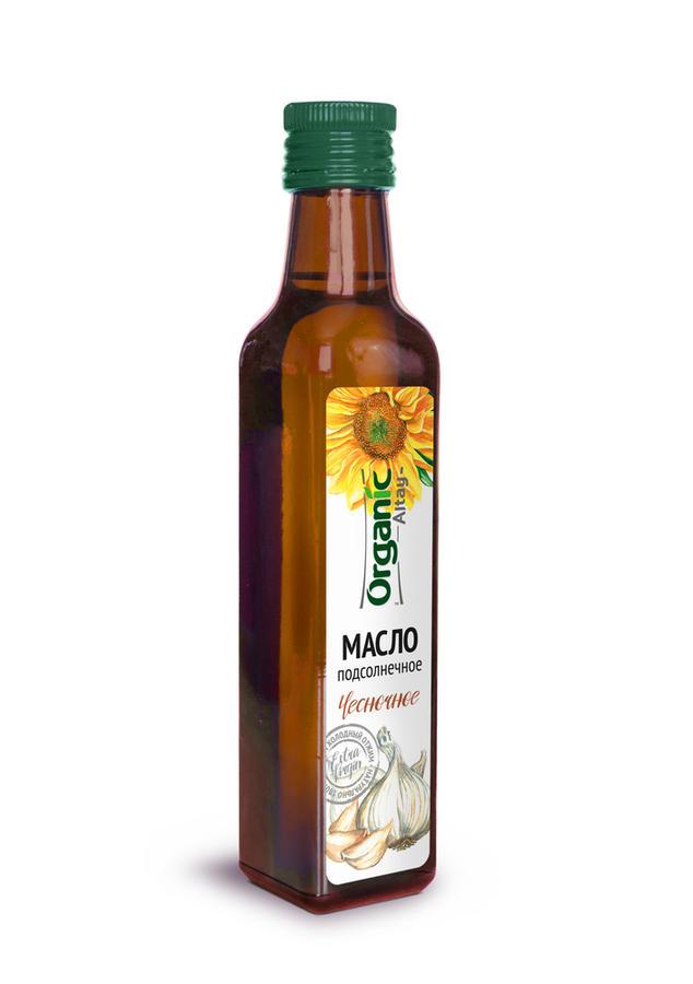 Масло пищевое нерафинированное подсолнечное чесночное, 250 мл, Organic Life