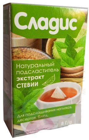 Натуральный подсластитель, экстракт стевии с инулином, 8 гр, Сладис фото