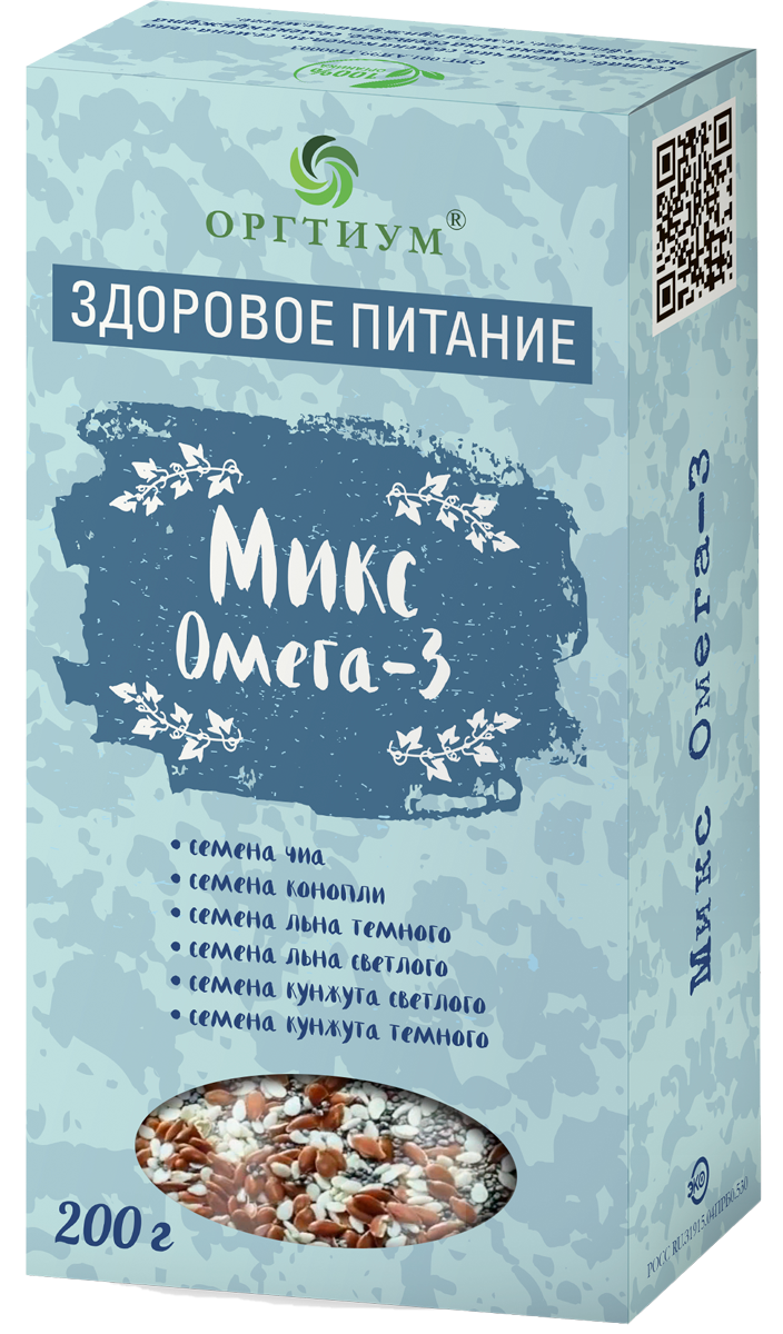 Микс семян льна Омега-3, 200 гр, Оргтиум фото