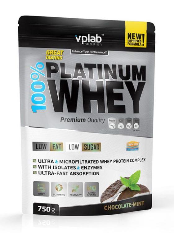 Сывороточный протеин 100% Platinum Whey, вкус «Шоколад-мята», 750 гр, VPLab фото