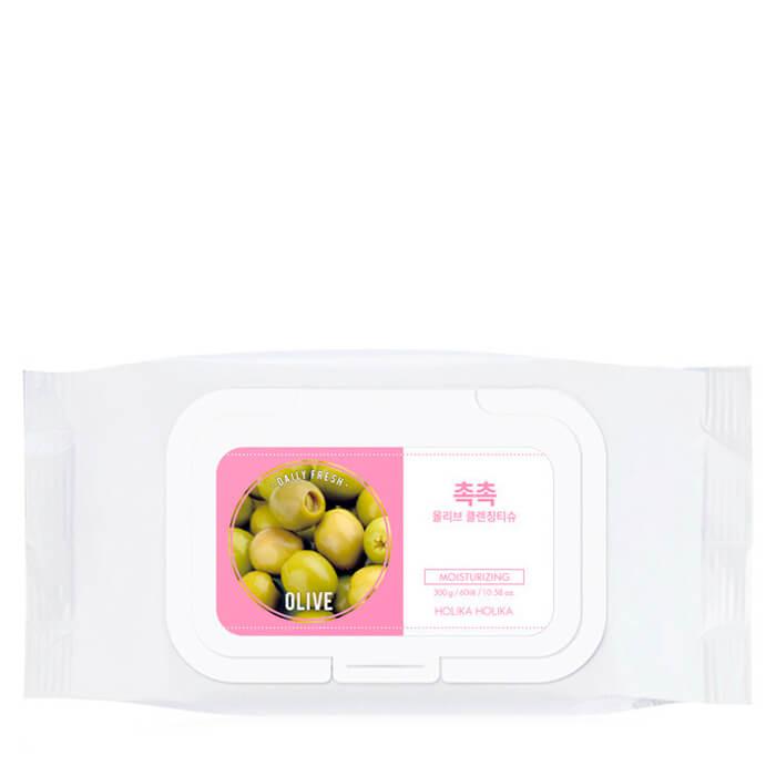 Купить со скидкой Салфетки для удаления макияжа «Дэйли Фреш»  с оливой, 60 шт, Holika Holika