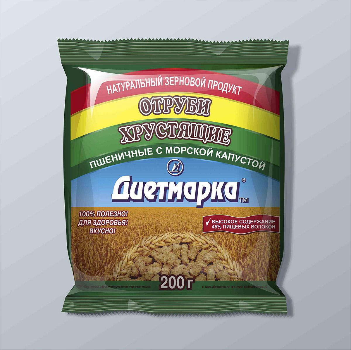 Отруби хрустящие пшеничные с МОРСКОЙ КАПУСТОЙ, 200 гр, ДиетМарка фото
