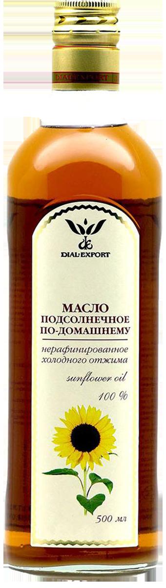 Масло подсолнечное нерафинированное холодного отжима 0,5 л, DIAL-EXPORT