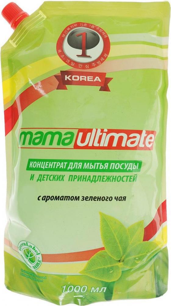 Антибактериальное концентрированное средство для мытья посуды «Зеленый чай» (запасной блок), 1 л, Mama Ultimate фото