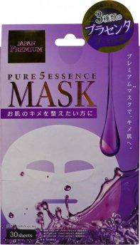 Маска для лица c тремя видами плаценты Pure5 Essence Premium, 30 шт, JAPAN GALS фото