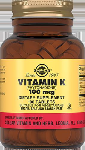 Купить со скидкой Витамин К 100 мкг, 100 таблеток, Solgar