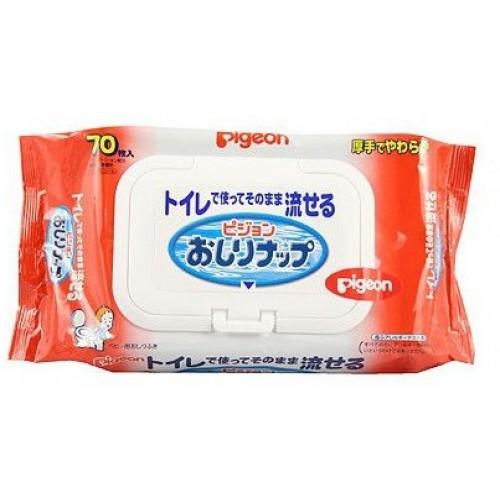Детские влажные гигиенические салфетки, мягкая упаковка с клапаном, 70 шт, PIGEON фото
