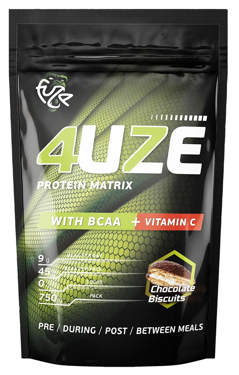 Мультикомпонентный протеин Фьюз 47% + BCAA , вкус «Шоколадное печенье», 750 гр, 4UZE фото