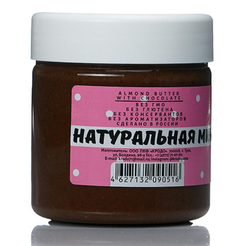 Натуральная миндальная паста с шоколадом, 150 гр, KRODO фото