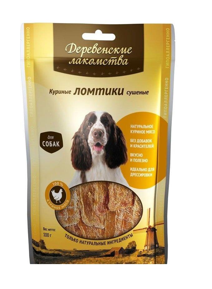 Куриные ломтики сушеные для взрослых собак, 90 гр, Деревенские лакомства фото