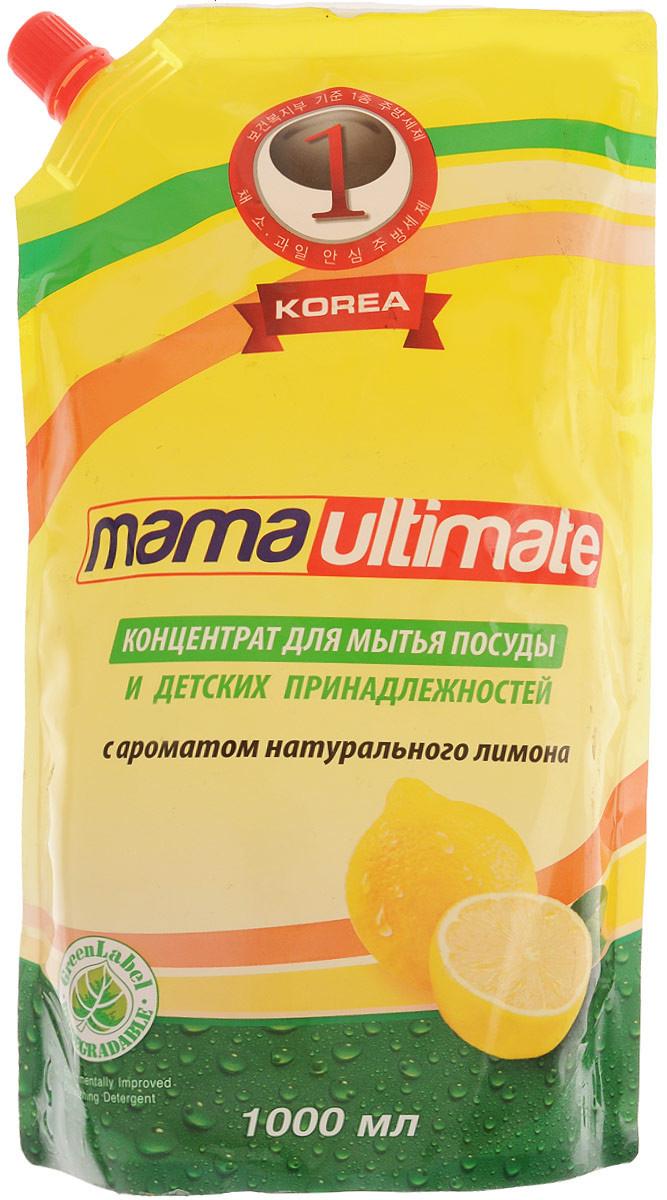 Антибактериальный концентрат для мытья посуды «Лимон», запасной блок, 1 л, Mama Ultimate фото
