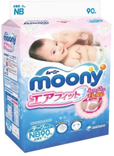 Подгузники MOONY для новорожденных, NB до 5 кг, 90 шт. фото