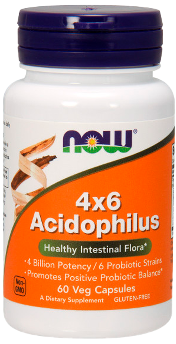 Ацидофилус 4х6, 60 вегетарианских капсул, NOW