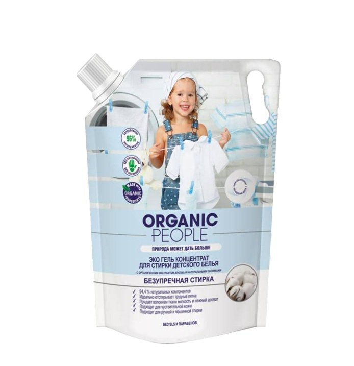 Купить со скидкой Эко гель-концентрат для стирки детского  белья, 2 л, Organic People