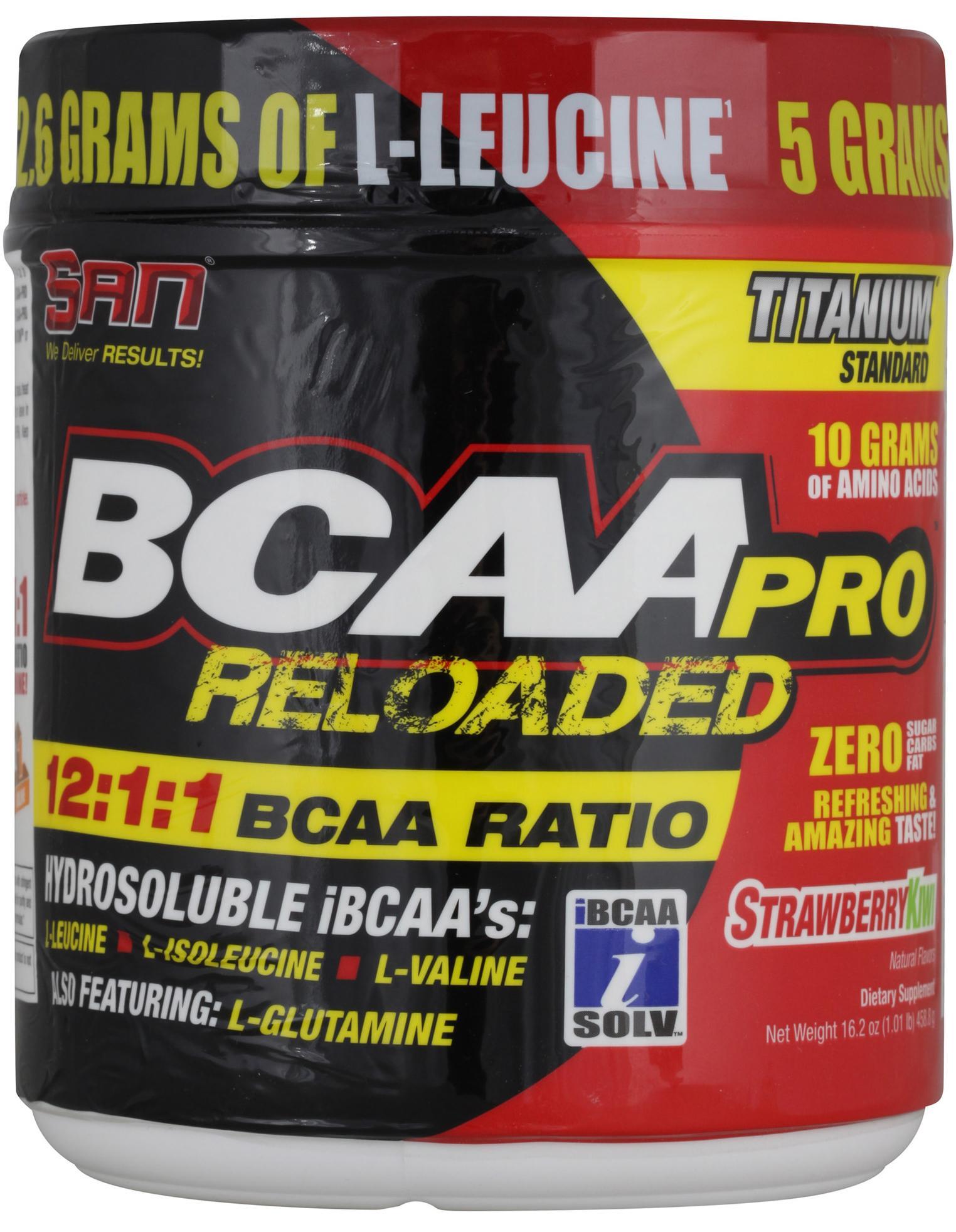 BCAA-Pro Reloaded, вкус клубника-киви, 456 гр, SAN