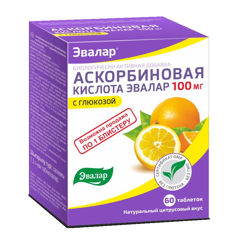 Аскорбиновая кислота, 60 таблеток, Эвалар фото