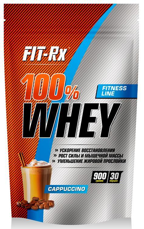 100% Whey, вкус капучино, 900 гр, Fit-Rx фото