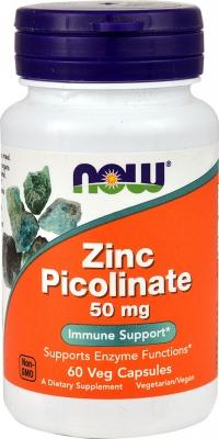 Пиколинат цинка, 50 мг, 60 вегетарианских капсул, NOW