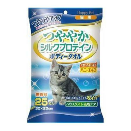 Шампуневые полотенца для экспресс-купания без воды, с шелковым протеином и экстрактом меда, для кошек, 25 шт., Happy Pet фото
