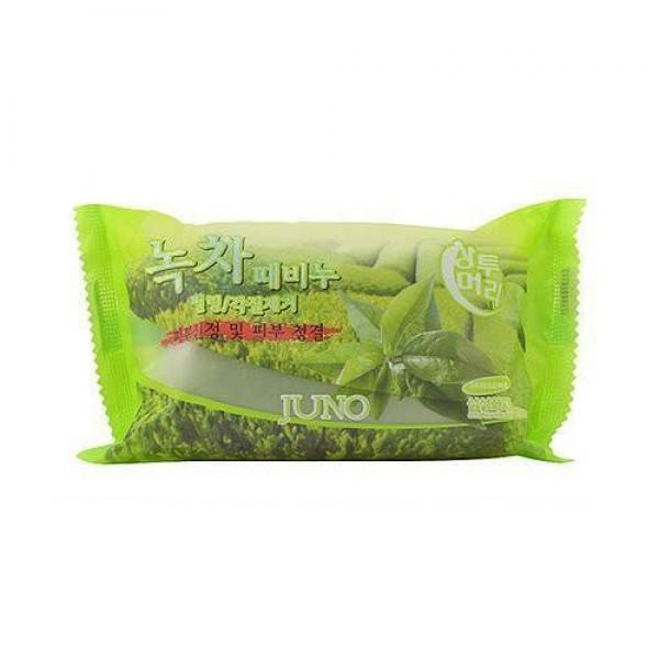 Мыло с отшелушивающим эффектом с зеленым чаем, 150 мл, Juno фото