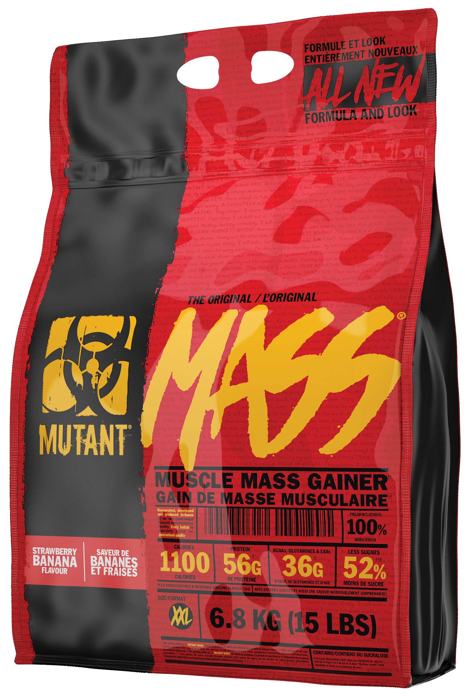 Гейнер Mass, вкус клубника-банан, 6,8 кг, Mutant