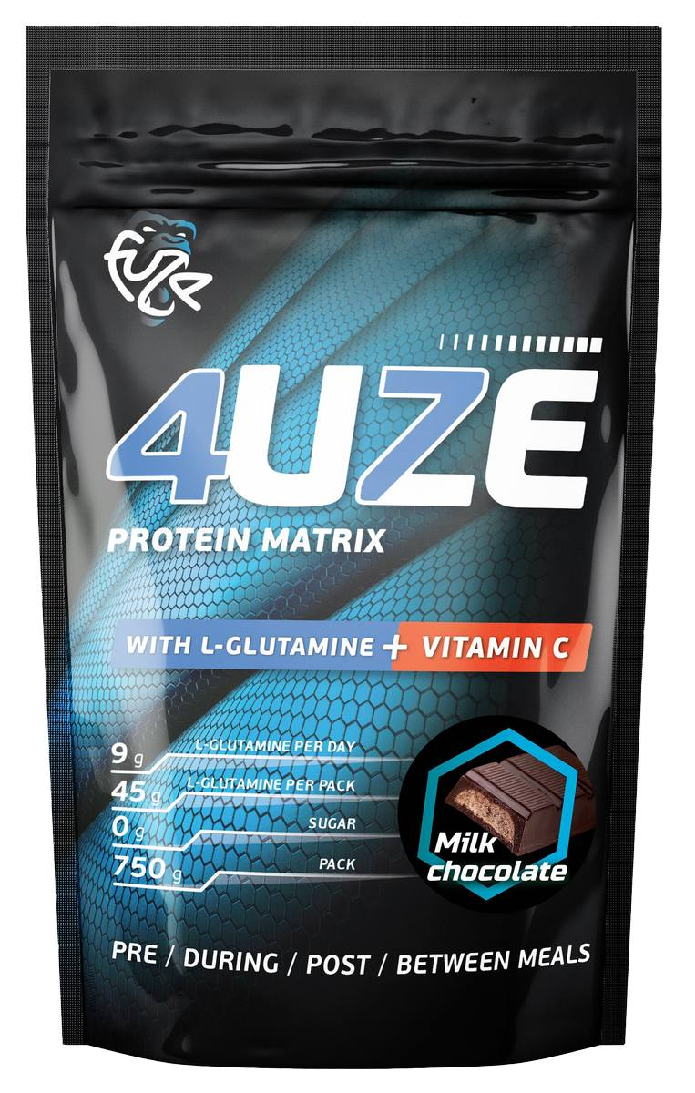 Протеин «Фьюз 47% + глютамин», вкус «Молочный шоколад», 750 гр, 4UZE фото