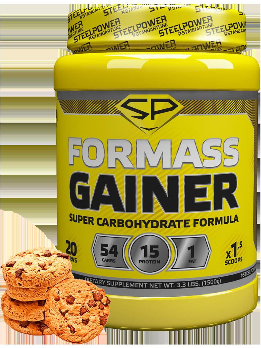 Гейнер FORMASS GAINER, 1500 гр, вкус «Молочное печенье», STEELPOWER фото