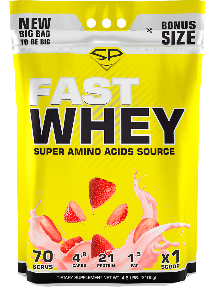 Сывороточный протеин Fast Whey, 2100 г, Клубника, SteelPower фото