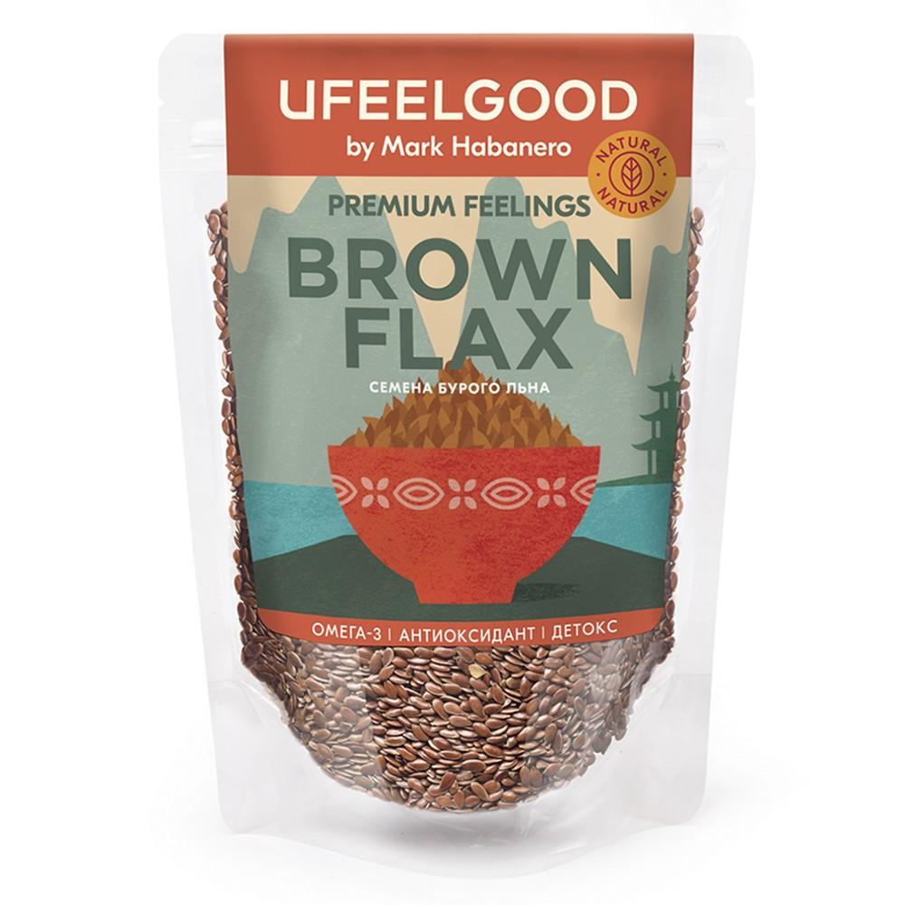 Семена бурого льна Brown Flax Seeds, 200 гр, UFEELGOOD фото