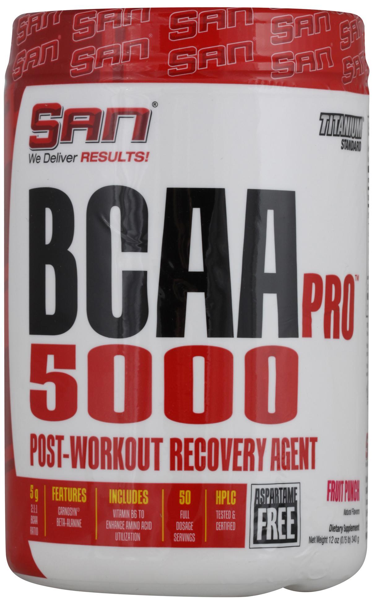 BCAA-Pro 5000  Aspartame Free, вкус фруктовый пунш, 340 гр, SAN